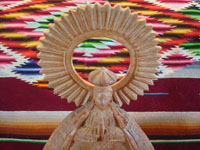 Mexican vintage devotional art, and Mexican vintage woodcarving, a lovely woodcarving of Our Lady of Good Health, Patronness of the Basilica in Patzcuaro, Michoacan, c. 1950's. Photo of the top of the figure.