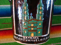 Mexican vintage pottery and ceramics, a beautiful pottery bottle, wonderfully hand-formed and decorated, and with a stunning image of Nuestra Senora de San Juan de los Lagos (Our Lady of St. John of the Lakes), Tlaquepaque or Tonala, Jalisco, c. 1930's. Closeup photo of the second side, showing the Basilica.