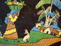 Mexican vintage pottery and ceramics, a beautiful black-ware plate with a wonderful rural scene featuring a Mexican woman carrying pineapples to market and accompanied by her loyal doggie, Tlaquepaque or Tonala, Jalisco, c. 1930-40's. Closeup photo of the front of the Talquepaque plate.