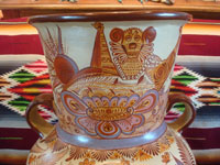 "Mexican vintage pottery and ceramics, a very beautiful pottery olla (jar or vase) with exquisite hand-painted decorations, canela (cinammon colors), by the famous master of Mexican pottery and folk art, ""Pajarito"", Tonala, Jalisco, c. 1950's. Closeup photo of the top of the olla."