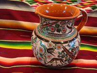 Mexican vintage pottery and ceramics, a truly beautiful pottery pitcher, with intricate and crisp artwork, by the famous, late Jose Bernabe, Tonala or Tlaquepaque, Jalisco, c. 1950's. Main photo of the Jose Bernabe pottery pitcher from Tonala.