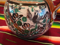 Mexican vintage pottery and ceramics, a truly beautiful pottery pitcher, with intricate and crisp artwork, by the famous, late Jose Bernabe, Tonala or Tlaquepaque, Jalisco, c. 1950's. A closeup photo of some of the very fine artwork on one side of the Bernabe pitcher from Tonala.