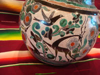 Mexican vintage pottery and ceramics, a truly beautiful pottery pitcher, with intricate and crisp artwork, by the famous, late Jose Bernabe, Tonala or Tlaquepaque, Jalisco, c. 1950's. A closeup photo of the artwork on another side of the Bernabe pottery pitcher from Tonala.