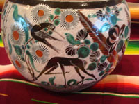 Mexican vintage pottery and ceramics, a truly beautiful pottery pitcher, with intricate and crisp artwork, by the famous, late Jose Bernabe, Tonala or Tlaquepaque, Jalisco, c. 1950's. A closeup photo of the fine artwork on a third side of the Bernabe pottery pitcher from Tonala.
