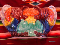 Mexican vintage pottery and ceramics, a beautiful Mexican majolica bowl (Mexican drip-ware, or losa goteada), with a wonderful color pattern, Oaxaca, c. 1930's.  Another full view of the bowl from Oaxaca.