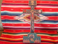 Mexican vintage devotional art, and Mexican vintage woodcarving and masks, a beautiful Cruz de Animas (Cross of the Souls in Purgatory), hand-painted on wood, Queretaro, c. 1870-1900. Main photo of the Cruz de Animas.