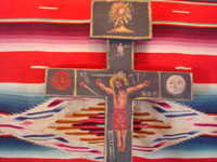 Mexican vintage devotional art, and Mexican vintage woodcarving and masks, a beautiful Cruz de Animas (Cross of the Souls in Purgatory), hand-painted on wood, Queretaro, c. 1870-1900. Closeup photo showing Christ at the center of the cross.