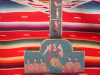 Mexican vintage devotional art, and Mexican vintage woodcarving and masks, a beautiful Cruz de Animas (Cross of the Souls in Purgatory), hand-painted on wood, Queretaro, c. 1870-1900. Closeup photo showing the base of the cross with the souls in purgatory.