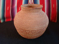 Native American Indian antique baskets, a beautiful polychrome Chemehuevi olla, c. 1920.  Main photo of the Chemehueevi basket.