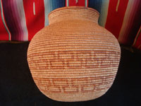 Native American Indian antique baskets, a beautiful polychrome Chemehuevi olla, c. 1920.  A side-view of the Chemehuevi basket.