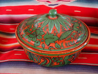 Mexican vintage pottery and ceramics, a fantasia-ware lidded casserole with beautiful and fanciful hand-painted decorations, Tonala or Tlaquepaque, Jalisco, c. 1940's. Main photo of the fantasia lidded bowl.