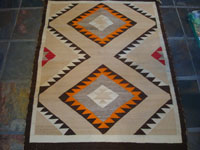 Native American Indian vintage textiles, and Navajo vintage rugs and blankets, a beautiful Navajo rug, probably from the Crystal area, c. 1920's.  Main photo of the Navajo woolen rug.
