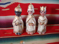 Mexican vintage folk art, and Mexican vintage devotional art, a pottery nativity set with white and gold decoration, Tlaquepaque, Jalisco, c. 1950's. Photo showing the three kings, part of the nativity set from Tlaquepaque.