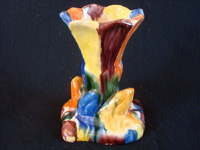 "Mexican vintage pottery and ceramics, a lovely drip-ware vase (losa gotiada) from Oaxaca, c. 1930's. This pottery is also referred to as ""Mexican Majolica"", and was produced in Oaxaca until about 1940. Another side-view of the vase."