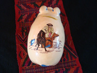 Mexican vintage folk-art, and Mexican vintage pottery and ceramics, a wonderful piggy-bank with very fine artwork, Tonala or Tlaquepaque, Jalisco, c. 1940's. Photo showing the matador and bull on the back of the piggy-bank.