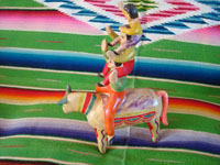 Mexican vintage folk art, and Mexican vintage pottery and ceramics, a wonderful piece of folk art, depicting three acrobats balancing atop a bull, attributed to the great Heron Martinez, Acatlan, Puebla, c. 1950's. Another side photo of the piece of vintage Mexican folk art by the great Heron Martinez of Acatlan, Puebla.
