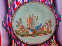 Mexican vintage pottery and ceramics, a lovely pottery plate with a wonderful, pale-green background glaze and very fine artwork, Tonala or Tlaquepaque, Jalisco, c. 1930's. Main photo of the Tlaquepaque pottery plate.