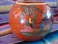 Mexican vintage pottery and ceramics, a beautiful pottery tecomate, a cylindrical bowl, with wonderful and very crisp artwork, Tonala or Tlaquepaque, Jalisco, c. 1930-40's.  Another side view of the tecomate from Tonala or Tlaquepaque.