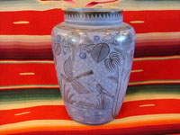"I-3: Mexican vintage pottery and ceramics, a burnished vase from Tonala, Jalisco, c. 1940. Beautifully decorated with hand-painted floral designs and birds. Pale blue background with stars. This one is really special! Size: 8"" tall x 6"" across at shoulder of vase. Price: $325."