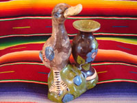 Mexican vintage pottery and ceramics, and Mexican vintage folk art, a pottery duck standing next to a lovely blackware vase, from Tlaquepaque, Jalisco, c. 1930's. Main photo.