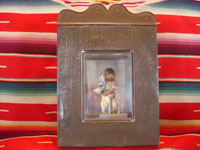 Mexican vintage folk art and tinwork art, a tinwork-art nicho with a wonderful wax figure of a boy and his donkey by Luis Hidalgo, 1941. Main photo of nicho.