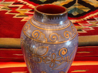 "Mexican vintage pottery and ceramics, a beautiful Tonala burnished vase or large jar with a blue background and a ""starry-night"" background-design, Tonala, Jalisco, c. 1930. A photo of the top part of the Tonala pottery vase."