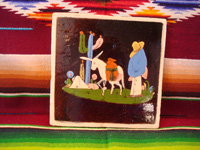 Mexican vintage pottery and ceramics, a very stunning black-ware tile with a wonderful scene of a campesino and his trusty burro, Tonala or Tlaquepaque, Jalisco, c. 1930's. Main photo.