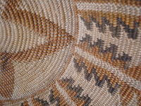 Native American Indian antique basket, a very fine Cupeno Indian basket from California, c. 1920. Closeup photo of one side of the Cupeno Indian basket.