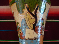 Mexican vintage pottery and ceramics, a lovely and very finely decorated petatillo (the background is filled with very fine hatchwork lines, resembling a Mexican straw-mat or petate) vase, Tonala or Tlaquepaque, Jalisco, c. 1930's. Photo of a scene on one side of the vase showing a campesino snoozing under a lovely cactus.