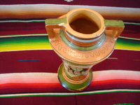 Mexican vintage pottery and ceramics, a lovely and very finely decorated petatillo (the background is filled with very fine hatchwork lines, resembling a Mexican straw-mat or petate) vase, Tonala or Tlaquepaque, Jalisco, c. 1930's. Photo shot from above the vase looking down.