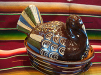 Mexican vintage pottery and ceramics, and Mexican vintage folk-art, lidded casseroles in the form of nesting turkeys, Tonala or Tlaquepaque, Jalisco, c. 1940's. Photo of the larger casserole, a nesting blackware turkey.