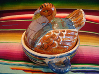 Mexican vintage pottery and ceramics, and Mexican vintage folk-art, lidded casseroles in the form of nesting turkeys, Tonala or Tlaquepaque, Jalisco, c. 1940's. A photo of the smaller turkey casserole.