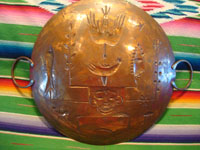Mexican vintage folk art, and Mexican vintage tinwork and copper art, a beautiful copper tray with hand-hammered figures and decorations, Mexico City, c. 1950.  Photo of the back side of the copper tray.