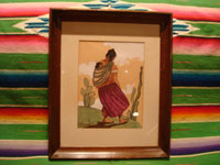 Mexican vintage fine art, and Mexican vintage folk art, a hauntingly beautiful original water-color gouche painting, Mexico, c. 1930-40's. The painting is signed S. Rosalis, an accomplished Mexican painter of that period. Main photo of the Mexican water color painting.