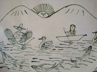 Mexican vintage pottery and ceramics, a large charger featuring a scene of Purepecha natives fishing their whitefish (pescado blanco) on lovely Lake Patzcuaro, Michoacan, c. 1940's. Closeup photo of the fishing scene on the front of the charger.