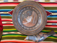 Mexican vintage pottery and ceramics, and Mexican vintage folk art, two beautiful pottery pieces by the famous, late Amado Galvan, a burnished charger with fine artwork and a lovely figure of a slender dove, Tonala, Jalisco, c. 1940's. Main photo of the Amado Galvan pottery pieces from Tonala.