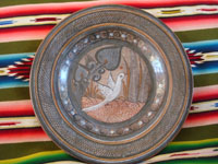 Mexican vintage pottery and ceramics, and Mexican vintage folk art, two beautiful pottery pieces by the famous, late Amado Galvan, a burnished charger with fine artwork and a lovely figure of a slender dove, Tonala, Jalisco, c. 1940's. Photo of the Galvan pottery charger from Tonala.
