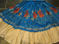 Mexican vintage serapes and textiles, a beautiful Tehuana skirt and huipil, or blouse, with wonderful embroidery and in the style of the women of the Isla de Tehuantepec, c. 1930's. Photo showing the Tehuana skirt.