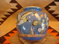 Mexican vintage pottery and ceramics, a lovely soft-blue Tlaquepaque vase with a beautiful background glaze and wonderful artwork on all sides, Tonala or Tlaquepaque, c. 1940. Main photo of the vase.