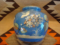 Mexican vintage pottery and ceramics, a lovely soft-blue Tlaquepaque vase with a beautiful background glaze and wonderful artwork on all sides, Tonala or Tlaquepaque, c. 1940. Photo of another side of the vase, showing the hummingbird.