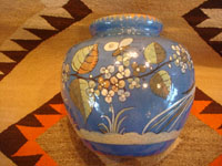 Mexican vintage pottery and ceramics, a lovely soft-blue Tlaquepaque vase with a beautiful background glaze and wonderful artwork on all sides, Tonala or Tlaquepaque, c. 1940. Photo of another side of the vase with floral decorations.