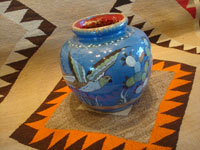 Mexican vintage pottery and ceramics, a lovely soft-blue Tlaquepaque vase with a beautiful background glaze and wonderful artwork on all sides, Tonala or Tlaquepaque, c. 1940. Another side of the blue vase.