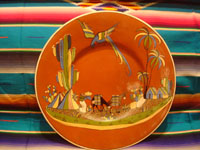 Mexican vintage pottery and ceramics, a beautiful pottery charger with a wonderful glaze in the background and artwork featuring a man going to market with his trusty burros and with a lovely quetzal flying overhead, Tonala or Tlaquepaque, Jalisco, c. 1940's. Main photo.
