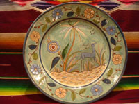 Mexican vintage pottery and ceramics, a beautiful Tlaquepaque pottery plate with a soft teal-colored background and with fine artwork decorations, featuring a lovely, graceful deer, Tonala or Tlaquepaque, c. 1930's. Main photo of the plate.