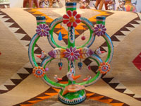Mexican vintage folk art, and Mexican vintage pottery and ceramics, a wonderful pottery tree-of-life with beautiful and very colorful decorations, Izucar de Matamoros, Puebla, c. 1950's. Main photo of the tree.