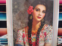 closeup photo of the calendar girl on the 1949 Mexican calendar.