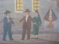 Closeup photo of the main scene of this Mexican vintage exvoto.