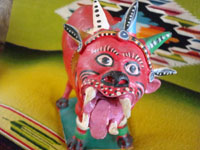 Mexican vintage pottery and folk art, a nagual by famous Mexican folk artist Candelario Medrano, c. 1960's. A closeup photo of the nagual's face.