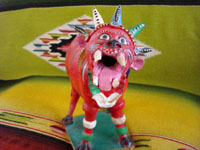 Mexican vintage pottery and folk art, a nagual by famous Mexican folk artist Candelario Medrano, c. 1960's. A photo of the mouth of the nagual.