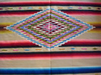 Mexican vintage textile, a Saltillo sarape, a closeup photo of the center diamond.